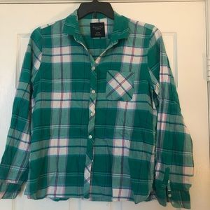 Green and purple plaid Button down